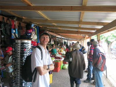 Touring the small market in Belmopan.