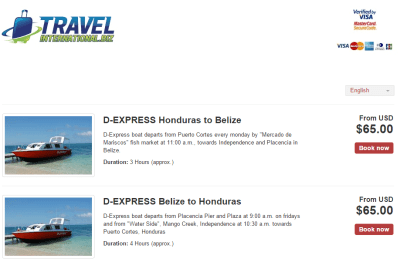 Belize to Honduras boat booking on the D-Express Website