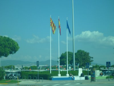 Catalonia and Spain flags together here.