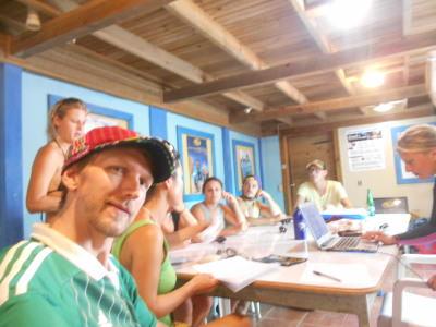 Classroom time in Utila Dive School.
