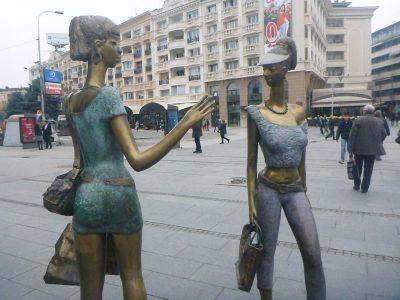 Art in downtown Skopje, Macedonia.