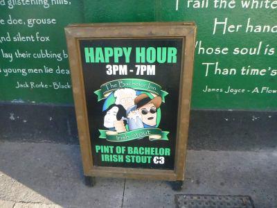 €3 Euros for a Stout in the Bachelor Inn!