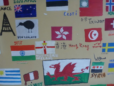 I drew the Northern Ireland flag on the wall.