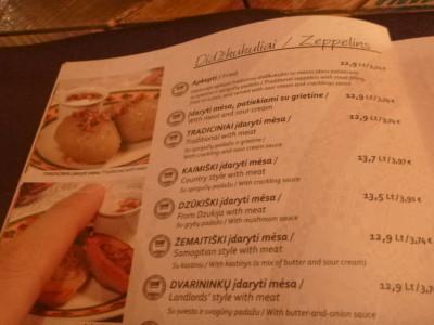 Cepelini on the food menu