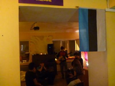Live music night in Euphoria Hostel, Tallinn, Estonia.
