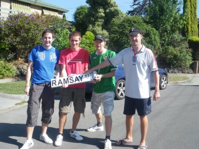 Daniel and I in the middle with Paul and Neil on the edge at Ramsay Street, Melbourne.