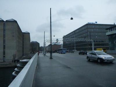 Crossing Knippels Bro Bridge in Copenhagen into Christianshavn.