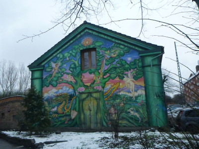 A wall mural in Christiania.