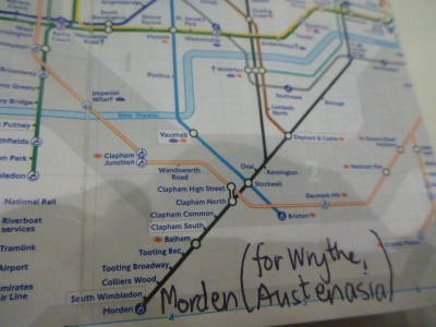 Head to Morden tube station on the Northern Line and change onto a bus for Wrythe, Austenasia.