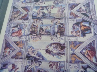 The interior of the Sistine Chapel - photos are not permitted. This is a photo from the information board near the start of the tour.