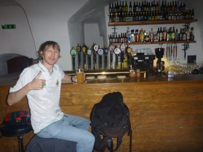 Enjoying the underground bunker bar in Tallinn, Estonia