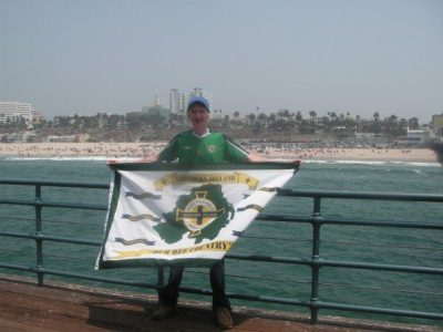 Flying the flag on Santa Monica pier in Los Angeles, USA