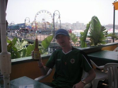 Beer and writing a travel blog on Santa Monica Pier