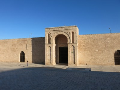 The front entrance to the Grande Mosquee in Mahdia, Tunisia