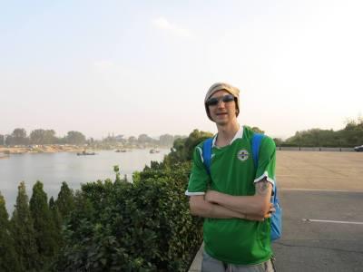 Touring Yanggak Island, Pyongyang, North Korea.