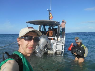 About to board my boat from Atauro Island to East Timor