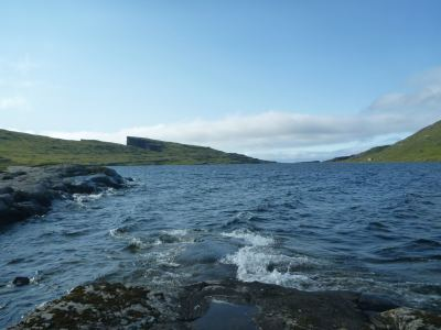 Walking round Lake Sorvagsvatn