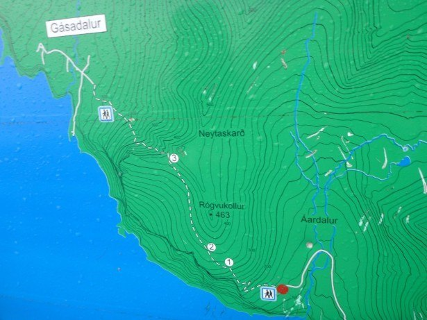 The map showing the hike to Gasadalur