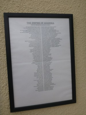 A list of Adammians in the Governor's Residence