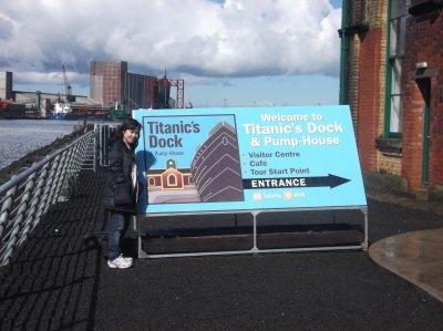 My girlfriend touring Titanic's dock