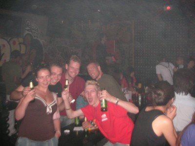 Partying in China with my Union Crew t-shirt on