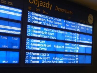 Train timetable in Krakow, Poland
