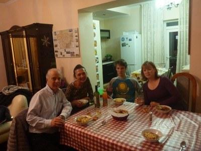 Eating Lagman in Almaty