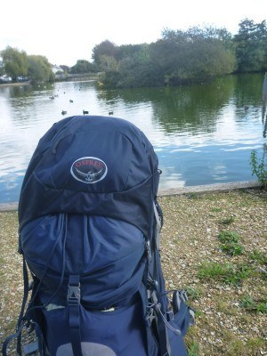 My new backpack at Lagoan Isles, Portsmouth