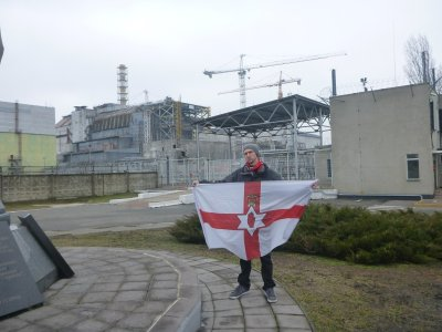 With my Northern Ireland flag at Chernobyl