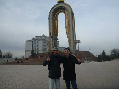 Said and I in front of the superb Isma'il Somoni monument