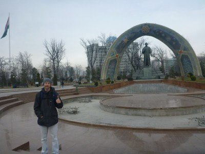 At the Rudaki Statue in Rudaki Park, Dushanbe