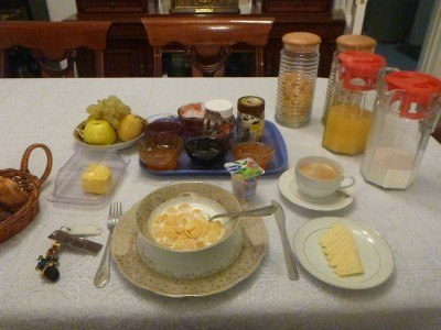 Breakfast at Marian's Guesthouse, Dushanbe.