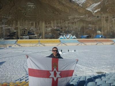 With my Northern Ireland flag in the remote city of Khorog, Gorno Badakhshan