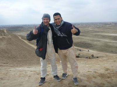 Noor and I touring Bactria: Alexander the Great's Lost City Walls