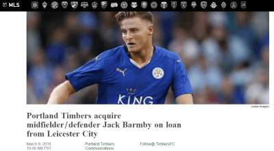 WTF?! Jack Barmby signed for Portland Timbers this week!