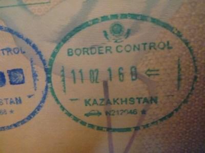 Arrival stamp into Kazakhstan