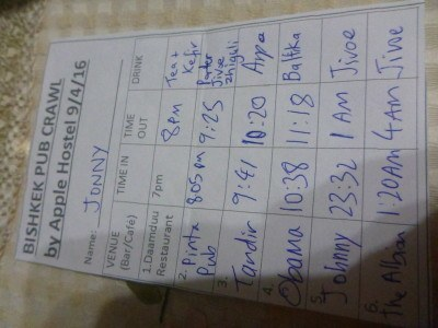 Bishkek Pub Crawl debut sheet