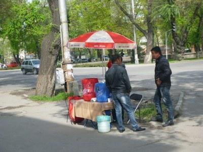 Ayran and Maksim sellers on the streets of downtown Bishkek, magnetic Kyrgyzstan