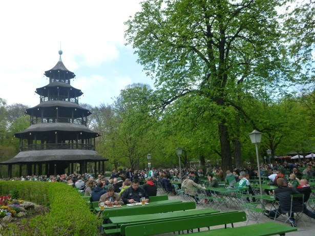 The Chinese monument and the beer garden