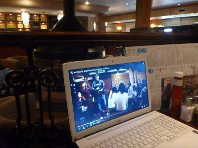 Watching videos as a preview in the Wetherspoons Pub