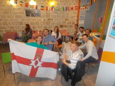 Watching the football with the hostel crowd and friends