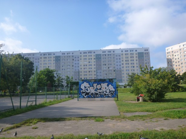 Park and Grafitti in The District of Zaspa, Gdańsk, Poland
