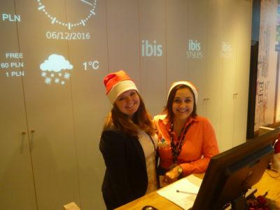 Smiling staff on Santa Day at the Ibis Hotel Warszawa Centrum, Poland
