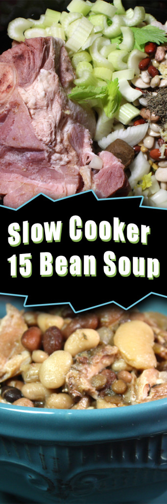 Slow Cooker 15 Bean Soup - Nothing is more comforting than a flavorful, piping hot bowl of soup! This is an easy chop, drop and let it cook meal.