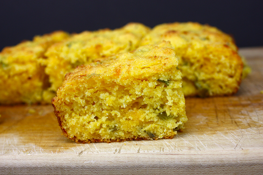 Cheddar Jalapeno Cornbread - Moist and cheesy with a spicy kick! Perfect for soup season.
