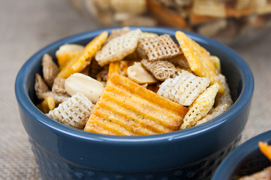 Cheddar Snack Mix in small blue ramekin