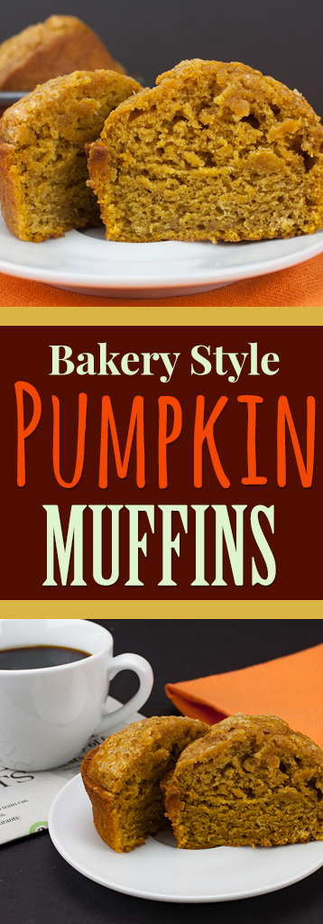 Bakery Style Pumpkin Muffins - These muffins are jumbo, gloriously full of pumpkin flavor, moist and tender. Perfection!