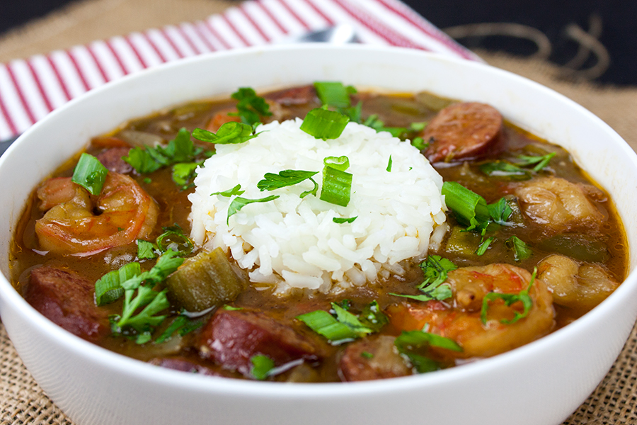 Shrimp and Sausage Gumbo - A taste of New Orleans right in your own kitchen! This shrimp and sausage gumbo is rich, slightly spicy and a total winner!