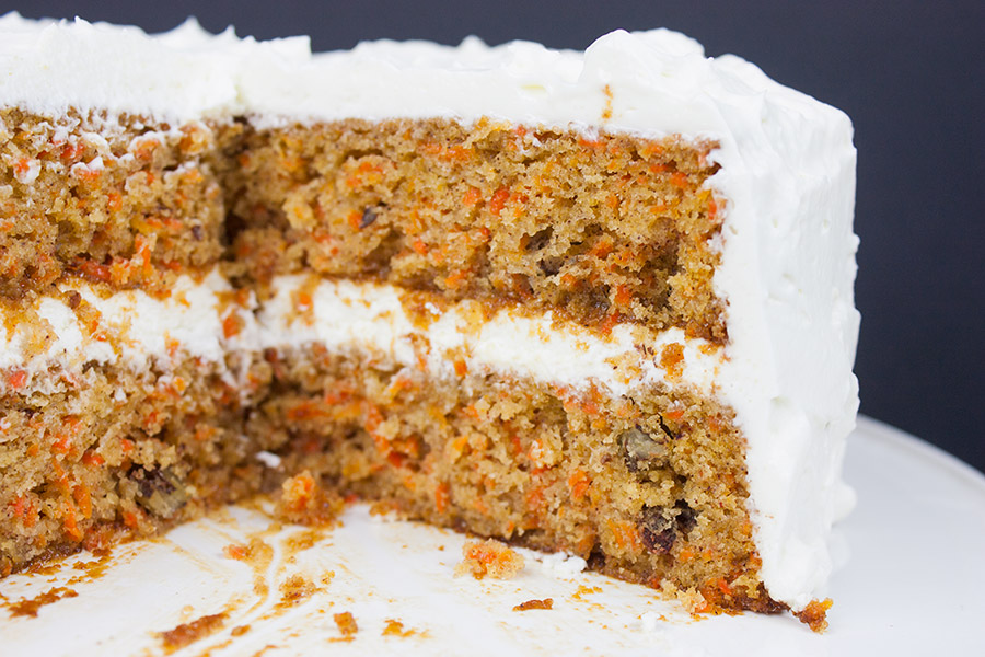Homemade Carrot Cake on white cake plate
