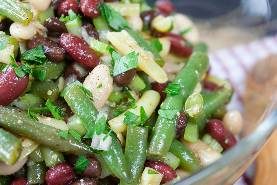 Homemade Five Bean Salad - A classic side dish that's perfect for picnics, barbecues or any meal. Fresh, slightly sweet, tangy, healthy and flavorful.